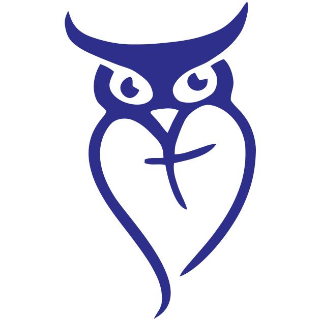 Owl logo alone blue square